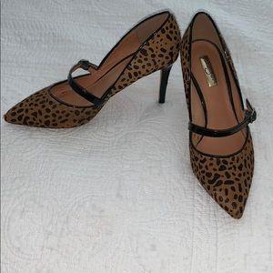 Halogen calf-skin leopard print heels